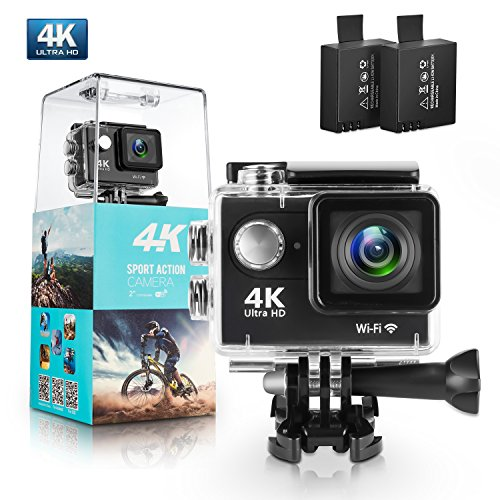 Action Camera, Amuoc 4K WiFi Ultra HD Waterproof Sport Camera with 12MP 170 Degree Wide-Angle Lens and 2 PCS Rechargeable Battery, Including Waterproof Case and Full Accessories Kits (Black) Amuoc