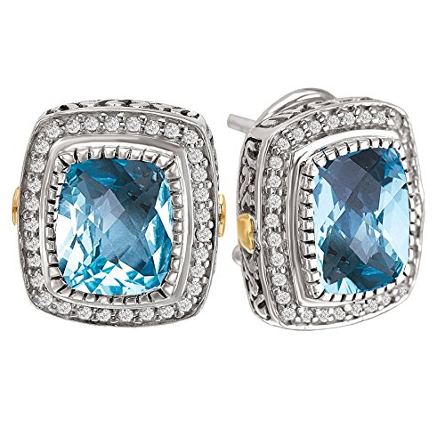 925 Silver, Blue Topaz & Diamond Earrings with 18k Gold Accents (0.35ctw)