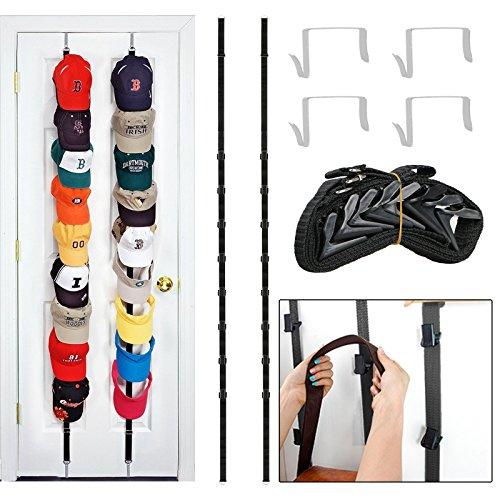 EEEKit 2-pack Adjustable Over the Door Cap Hat Rack Handbag Purse Clip Hanger Storage Organizer Holders Hook