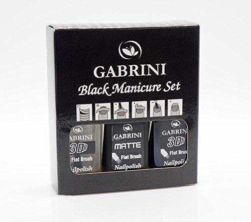 Gabrini - Complete Black Manicure Set 3 Pcs - Black Set - 13 ml / 0.44 fl.oz.