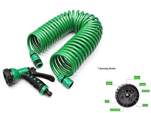 6' Vegetable Spray Hose (Starworld-25FT Automatically expands durable ultra lightweigh Portable spiral coil Expandable Garden Water Hose w/ Spray 7 pattern Nozzle polyester fabric mat Green color)