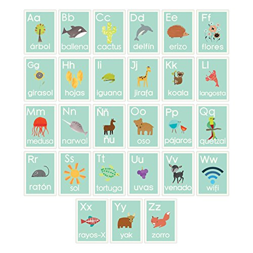 Spanish Alphabet 5x7 Wall Cards, Blue Nature, Kid's Wall Art, Nursery Decor, Kid's Room Decor, Gender Neutral Nursery Decor