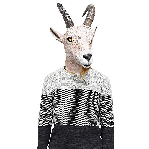 Latex Antelope Head Mask Farmyard Animal Goat Mask Halloween Fantasy Costume Party Dress Up]()