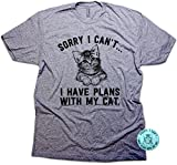 Sorry I Can't… I Have Plans With My Cat Funny Unisex T-shirt & Sticker Heather Grey (Small)