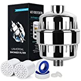 10-Stage Shower Water Filter with 2 Cartridges - For Any Shower Head and Handheld Shower - baby shower filter - High Output Universal Shower System - Replaceable Multi-Stage Filter Cartridge
