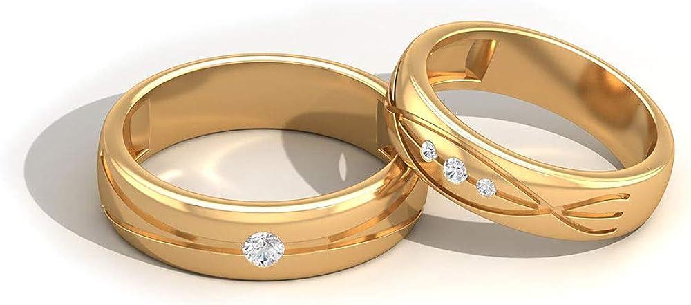 IGI Certified Diamond Eternity Bandas, Juego de anillos de boda para pareja, HI-SI Color Clarity Diamond Love Band Set, Declaración Anillo de compromiso Bandas, 14K Oro