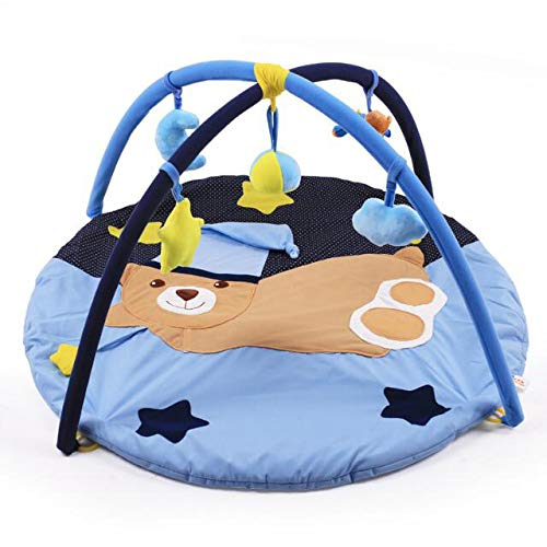 AIBAB Baby Play Mat Blue Cute Bear TC Cloth Game Blanket Fitness Rack Crawling Mat Puzzle Early Education Toys Sweat Comfortable