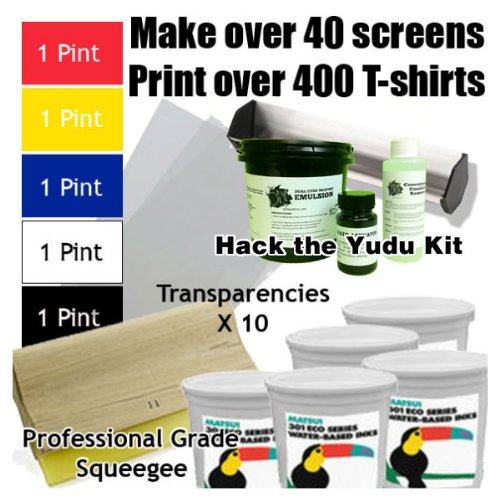 Get Going with the Yudu (Includes Hack the Yudu Screen Liquid Emulsion kit [emulsion, scoop coater, emulsion remover, tutorial], 11'' Professional Squeegee, 5 Pints of Ink, Transparencies) by diyTeeShirts