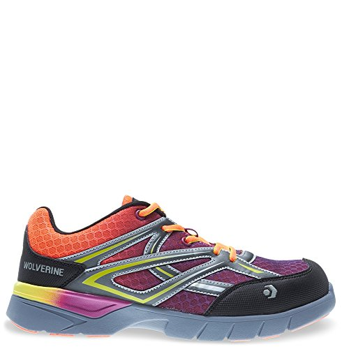 (Wolverine Women's Jetstream Athletic Comp Toe Work Shoe, Orange/Purple, 7 M US)