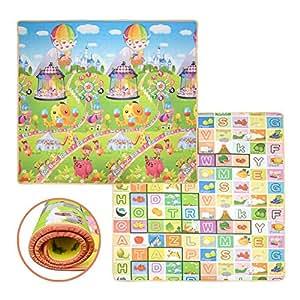 3mx1.8mx2cm Baby Kids Double Sides Play Mat Amusement Park & Alphabet