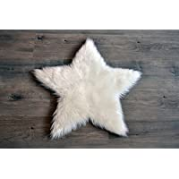 Machine Washable Faux Sheepskin White Star Rug 2' x 2' - Soft and silky - Per...