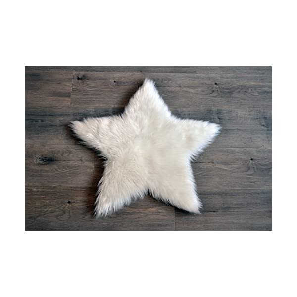 Machine Washable Faux Sheepskin White Star Rug 2′ x 2′ – Soft and silky – Perfect for baby's room, nursery, playroom (Star Small White)