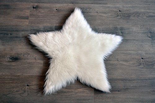 Machine-Washable-Faux-Sheepskin-White-Star-Rug-2-x-2-Soft-and-silky-Perfect-for-babys-room-nursery-playroom-Star-Small-White