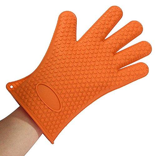 1pcs Kitchen Heat Resistant Silicone Glove Oven Pot Holder Baking BBQ Cook Mitts Orange