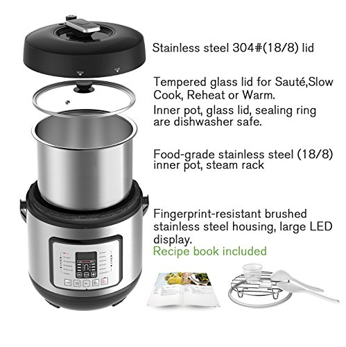 COSORI 6 Qt 7-in-1 Multi-Functional Programmable Pressure Cooker, Slow Cooker, Rice Cooker, Yogurt Maker, Sauté, Steamer & Warmer, Include Glass Lid, Sealing Ring and Recipe Book, 1000W by COSORI (Image #2)