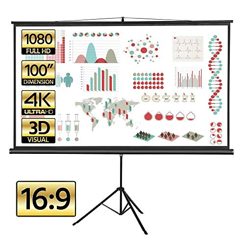 Yaheetech 100 inch 16:9 Portable Projector Screen with Stand Wrinkle-Free Design Widescreen Viewing Foldable Tripod Projection Screen Pull Up Indoor/Outdoor for Home Theater Camping