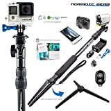 Nomadic Gear® Selfie Stick & Tripod: Professional Quality, Highest Rated Selfie Stick bundle with Sturdy Metallic Tripod Attachment and Bluetooth Remote | Universal support for Smartphones and Cameras | Heavy-Duty Rugged Waterproof Design | Make a Perfect Gift for Travel Photography & Epic Adventure Selfies | Receive Free Ebook Guide!