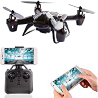 A-parts Mini FPV RC Drone with 0.3MP HD Wifi Camera Live Feed 2.4GHz 4CH 6-Axis Gyro APP Control FPV Quadcopter,Gravity Sensor, Altitude Hold and Headless Mode Helicopter for IOS or Android System, Color Black