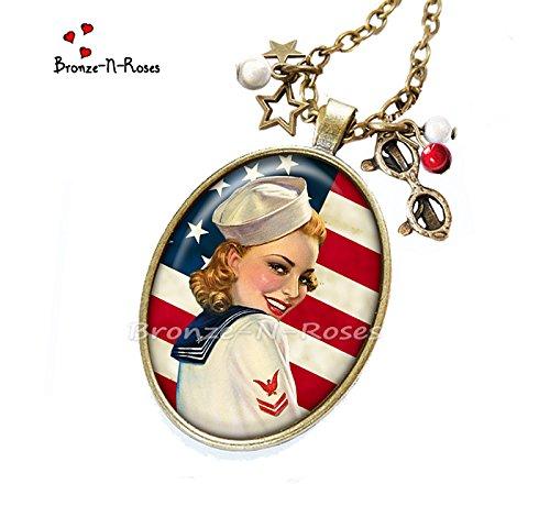 Sautoir  I love America  cabochon rouge drapeau États-Unis Pin-up verre