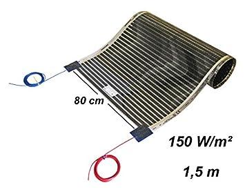 Calorique Infrarot Heizfolie Elektrische Fu/ßbodenheizung 80 cm Set 150 W//m/² 1,0 m/² effiziente und kosteng/ünstige Heizung f/ür Neubau oder Altbau-Sanierung