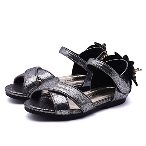 Walker Anti Shock Single - Girls Glitter Leather Open Toe Strap Cute Sandals Comfort Slip On Casual Summer Beach Outdoor Shoes