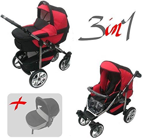 Jackmar | Gestell in Silber | Luftreifen in Chrom | 3 in 1 Kinderwagen Megaset (12 Teile) | Farbe: Schwarz & Rot
