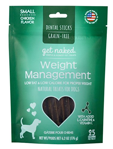 Get Naked Grain Free 1 Pouch 6.2 Oz Weight Management Dental Chew Sticks, Small (Dog Low Fat Rawhide)