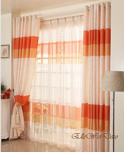 Elleweideco Warm Orange Light Sheer Window Curtain Orange Sheer