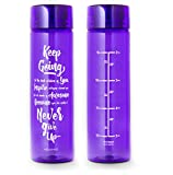 32oz Inspirational Fitness Workout Sports Water Bottle with Time Marker | ...