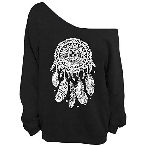 Amazon Best Sellers (QZUnique Women's Digital Print Long Sleeve Strapless Pullover Fleece Sweatshirt Bell Black,One Size)