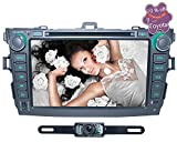 Azoop 2 DIN Car DVD Radio Receiver for Toyota Corolla 2007-2012 with iPod/iPhone Music Wireless Play/SWC/DVR/1080P Movie Playback/Button Key Light+AV IN Camera