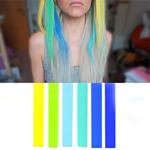Blue Turquoise Ombre hair Dye Set | Cyan, Mint, Turquoise and Blue Ombre Hair Dye | MERMAID OMBRE Hair Color | With Shades of Yellow, Green Apple, Blue, Turquoise, Minty & Navy A Pack of 6 Hair Chalk | Color your Hair Sapphire Ombre in seconds with temporary HairChalk