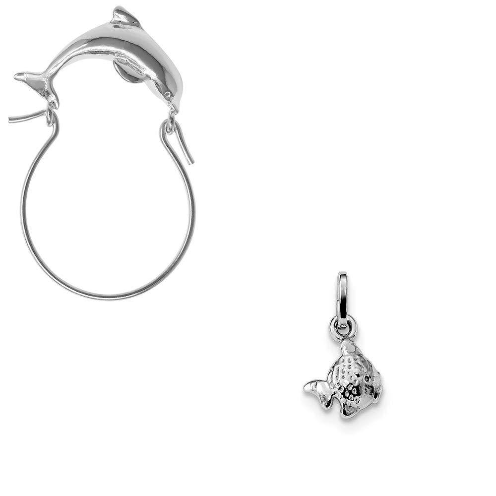 Mireval Sterling Silver Anti-Tarnish Treated Polished Fish Charm on an Optional Charm Holder