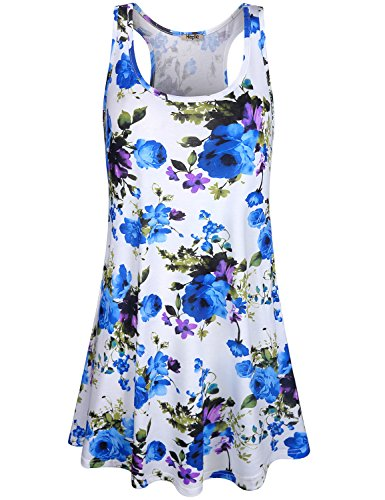 Tank Tropical Dress (Hibelle Dresses with Pockets for Women, Boutique Tropical Tank Sun Dress Women Work Casual Round Neck Racerback Floral Flare Shirt Flattering Hawaiian Date Party Dressy Tunic White L)