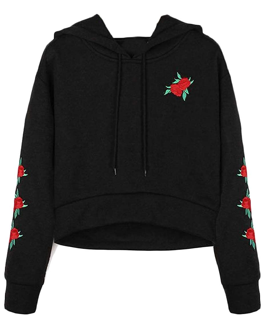 Hajotrawa Womens Plain Print Embroidery Drawstring Crop Pullover Hooded Sweatshirts