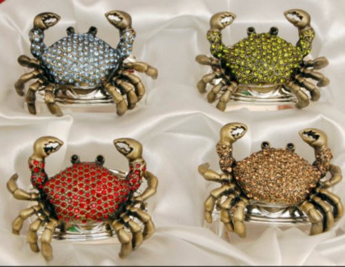 Hans Turnwald Set 4 Crab Napkin Ring Nautical Beach Decor Strass Stones Silverplate Signed in Gift ()