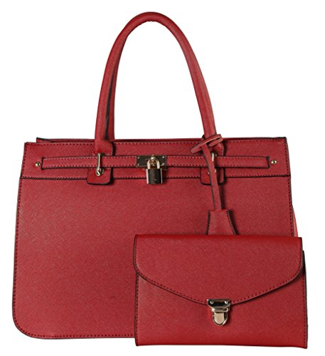 Diophy Saffiano PU Leather Front Lock Décor Bag in Bag Tote Accented with One Push Lock Clutch 2 Pieces Set Womens Purse Handbag (Discount Designer Bags)