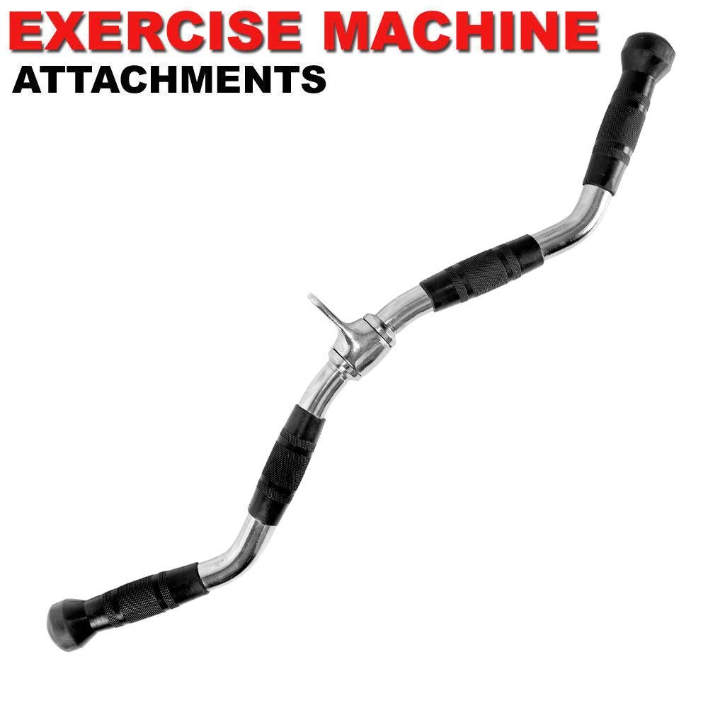 FITNESS MANIAC Home Gym Cable Attachment Handle Machine Exercise Chrome PressDown Strength Training Home Gym Attachments 30 inch Curl Bar Set (7 Pieces Set) by FITNESS MANIAC (Image #4)