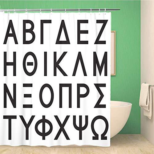 Awowee Bathroom Shower Curtain Delta Greek Alphabet Letters Black Sigma Alpha Phi Gamma 60x72 inches Waterproof Bath Curtain Set with Hooks Alpha Epsilon Pi Screen
