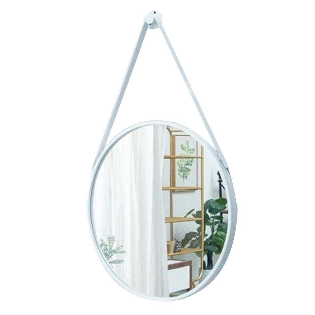 White NJYT Hanging Wall Mirror Bathroom, HD Mirror Round Wrought Iron Process Simply and Luxury Decorate Beautiful Appearance Suit for Bedroom (color   White)