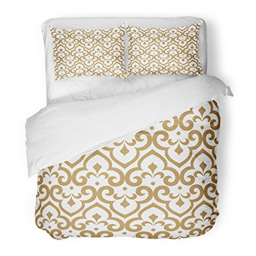 SanChic Duvet Cover Set Geometric Abstract Pattern in Arabian Style Graphic Modern White Gold Arab Decorative Bedding Set Pillow Sham Twin Size by SanChic