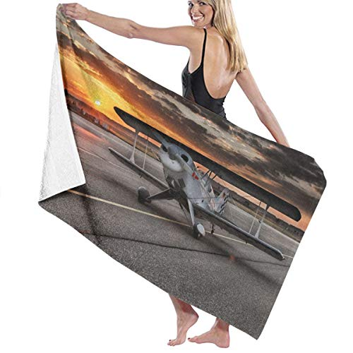 Kidhome Small Plane On Runway Bath Towel Beach Spa Shower Bath Wrap Soft Light Comfortable Dries Fast (Runway Wrap)