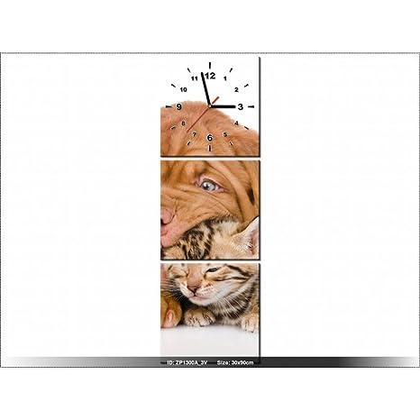 Art-Gallery XXL – 30 x 90 cm – como perro y gato – Reloj