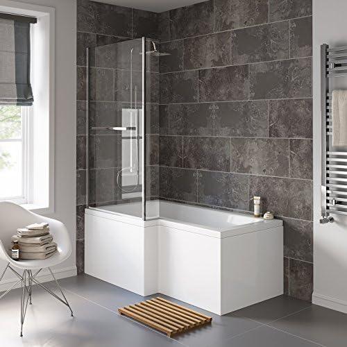 1500 mm para zurdos L-en forma de bañera con ducha recto con ...