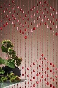Leguana - cortina para puerta para cortina perlas, color rojas