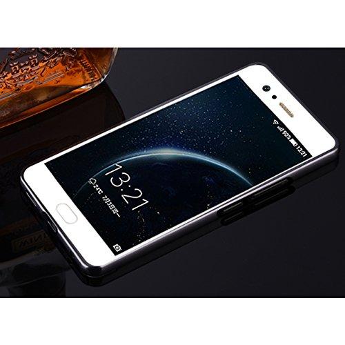 Huawei P10 Funda, Vandot Hybrid Diseño 3 en 1 Cáscara Dura de la PC Recubrimiento Metálico Marco Chapado Matte de Lujo Hard Caja de Telefono Duro Protección Cubierta Case Cover para Huawei P10, Plata Mirror Negro