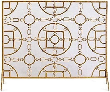 暖炉用品・アクセサリ フラット防火スクリーンスパークガードメッシュ、ソリッドシングルパネル錬鉄製ストーブ暖炉フェンスベビーセーフプルーフ、105×22×90cm、ゴールド (Color : Gold)