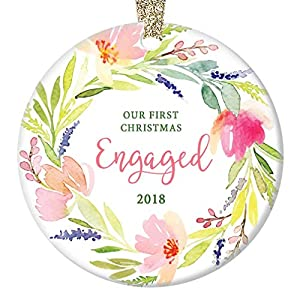 "First Christmas Engaged Ornament 2019 Pretty Watercolor Flower Wreath Ceramic Keepsake Future Bride & Groom 1st Holiday Engagement Party Present 3"" Flat Porcelain w Gold Ribbon & Free Gift Box OR00143 3"