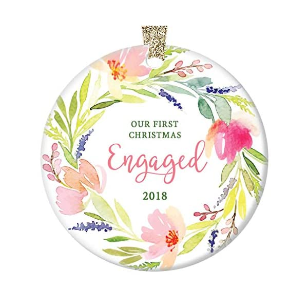 First-Christmas-Engaged-Ornament-2018-Pretty-Watercolor-Flower-Wreath-Ceramic-Keepsake-Future-Bride-Groom-1st-Holiday-Engagement-Party-Present-3-Flat-Porcelain-w-Gold-Ribbon-Free-Gift-Box-OR00143