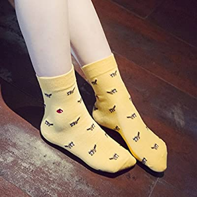 Chalier 5 Pairs Womens Cute Animal Socks Colorful Funny Casual Cotton Crew Socks,Style 01,Free size: Clothing